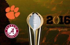 College Football National Championship Odds 2016 - Alabama Crimson Tide versus Clemson Tigers