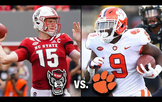 Clemson Tigers Favorites by Sportsbooks against NC State Wolfpack