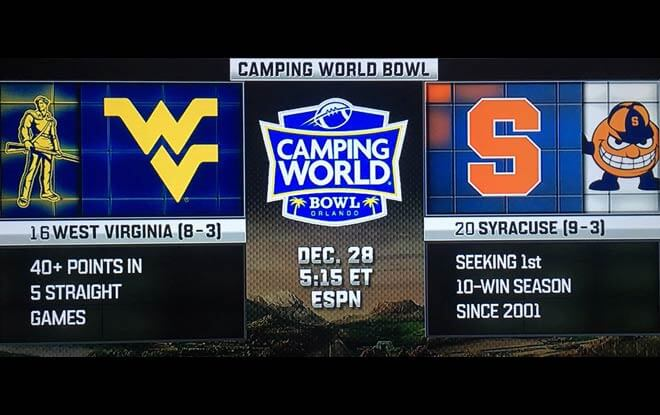 Camping World Bowl Betting Odds and Predictions- West Virginia vs. Syracuse Orange