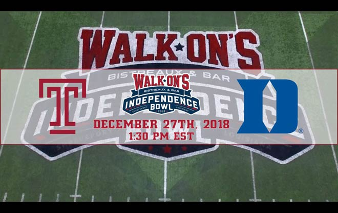 Duke Blue Devils vs. Temple Owls - 2018 Independence Bowl Betting Preview and Odds