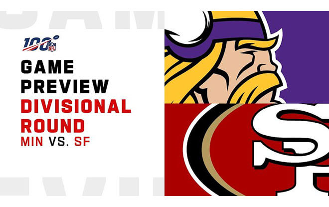Minnesota Vikings vs. San Francisco 49ers NFL Divisional Playoffs Betting lines and predictions