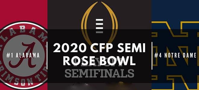 Notre Dame vs. Alabama Crimson Tide Rose Bowl/CFP semifinal odds and picks