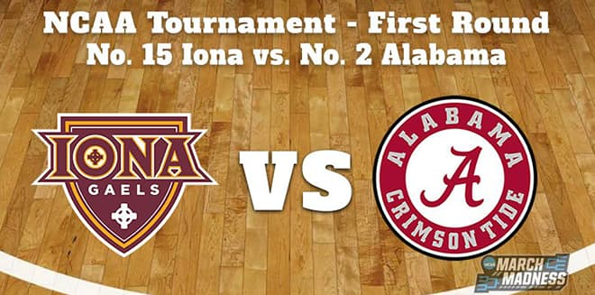 Iona vs. Alabama March Madness betting odds, predictions and picks